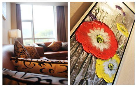 天目湖南山花园酒店沙发和壁画